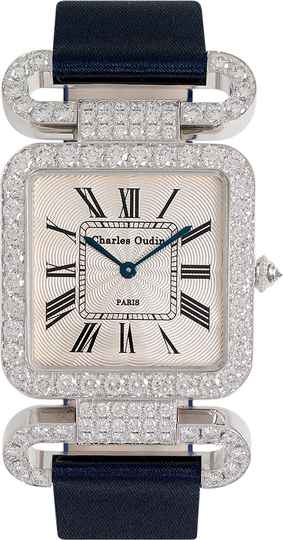 18K white gold Diamond set wristwatch of square shape with articulated diamond set lugs on top and bottom roman