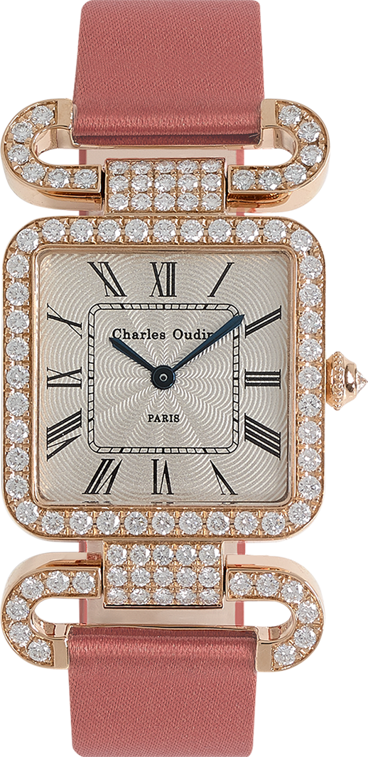 18K rose gold Diamond set wristwatch of square shape with articulated diamond set lugs on top and bottom Roman numerals Woodrose satin strap signed Charles Oudin Paris