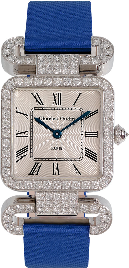 18K white gold Diamond set wristwatch of square shape with articulated diamond set lugs on top and bottom roman numerals Royal blue satin strap signed Charles Oudin Paris