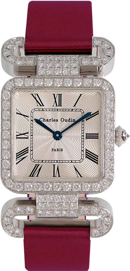 18K white gold Diamond set wristwatch of square shape with articulated diamond set lugs on top and bottom roman numerals Wine satin strap signed Charles Oudin Paris