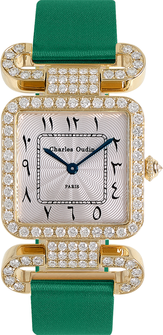 18K yellow gold Diamond set wristwatch of square shape with articulated diamond set lugs on top and bottom Arabic style dial with Hindu numerals Emerald satin strap signed Charles Oudin Pari
