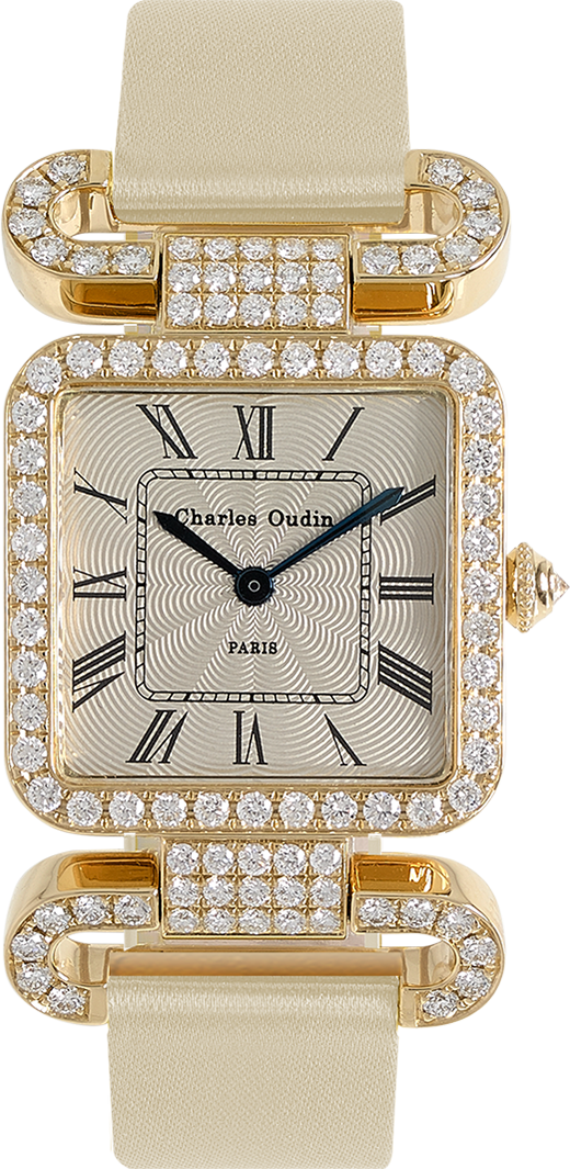 18K yellow gold Diamond set wristwatch of square shape with articulated diamond set lugs on top and bottom Classic style dial with Roman numerals Beige satin strap signed Charles Oudin Paris