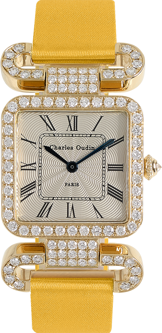 18K yellow gold Diamond set wristwatch of square shape with articulated diamond set lugs on top and bottom Classic style dial with Roman numerals Emerald satin strap signed Charles Oudin Paris