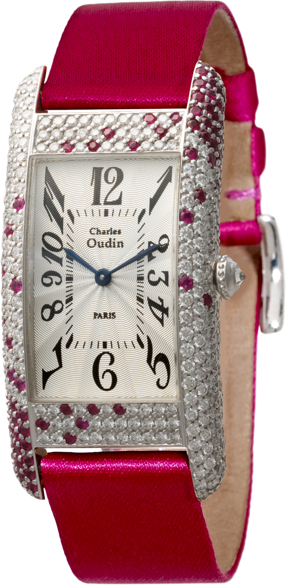 18K white gold wristwatch of rectangular shape in diamond and rubies, red satin strap signed Charles Oudin Paris