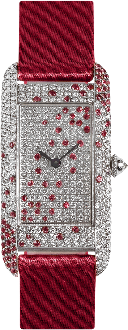 18K white gold rectangular case and dial set with diamond and rubies, red satin strap signed Charles Oudin Paris