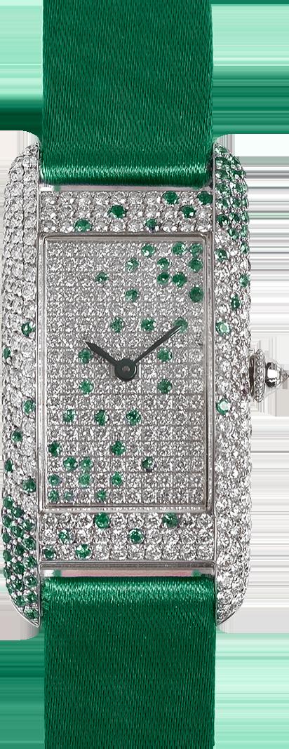 18K white gold Diamond set wristwatch of rectangular shape in diamond and emerald green satin strap signed Charles Oudin Paris