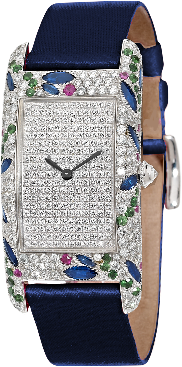 Amazone Curvex luxury watch in 18K white gold set with diamonds, pink and blue sapphires, tsavorites, blue satin strap by Charles Oudin Paris 8 place Vendome