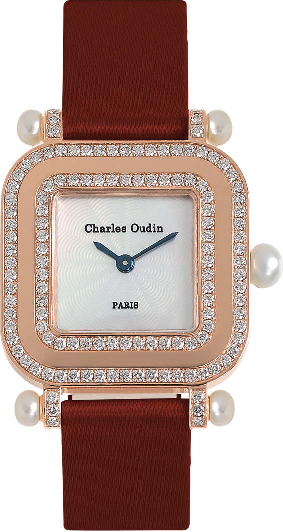 Chic and timeless, Pansy Miroir 18K rose gold square watch set with natural diamonds, mother of pearl dial and pearls, maroon satin strap by Charles Oudin Paris 8 place Vendôme Parisian watchmaker since 1797