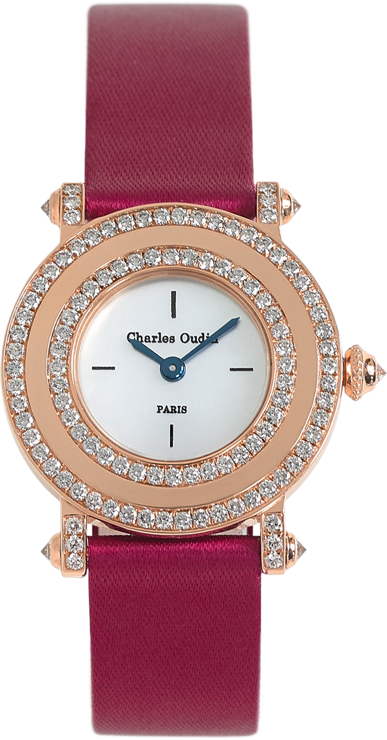 Contemporary yet timeless, Aster Miroir diamond luxury watch mother of pearls dial, wine satin strap by Charles Oudin Paris 8 place Vendôme Parisian watchmaker since 1797