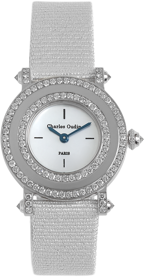 Classic and timeless, Aster Miroir diamond luxury watch mother of pearls dial, ciel satin strap by Charles Oudin Paris 8 place Vendôme Parisian watchmaker since 1797