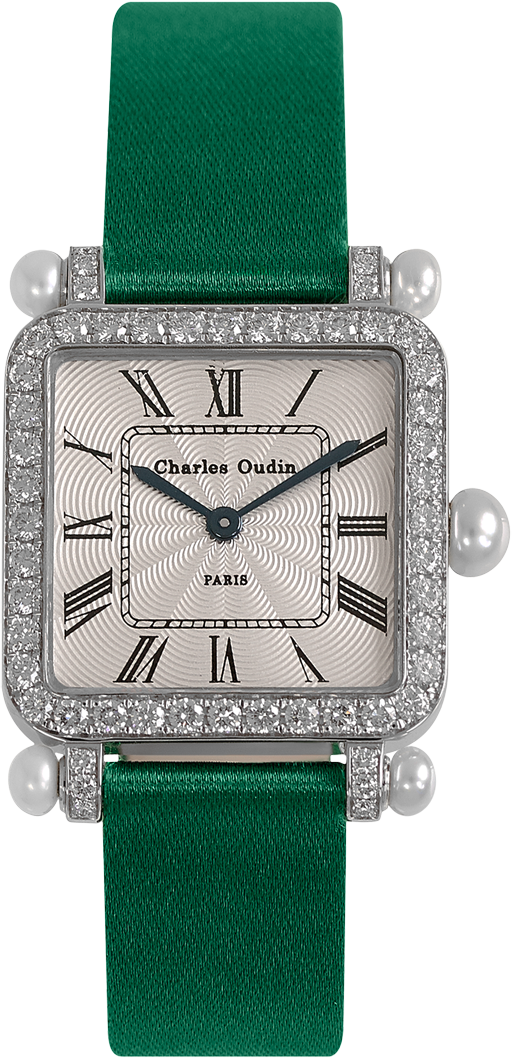 Charles Oudin Pansy Retro with pearls 18K white gold set with diamonds, Emerald satin strap