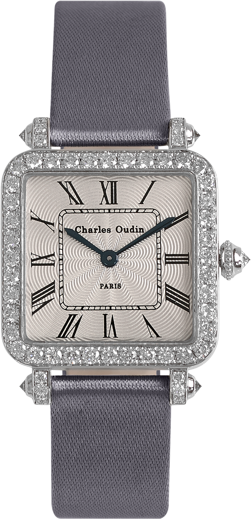 High-end jewelry watch for women Pansy Retro watch in 18K white gold set with diamonds, guilloche dial, grey satin strap by Charles Oudin Paris 8 place Vendôme