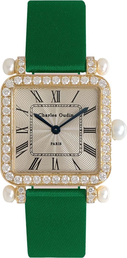 Charles Oudin Pansy Retro with pearls 18K yellow gold set with diamonds, Emerald satin strap