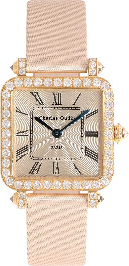 Pansy Retro watch in 18K yellow gold set with diamonds, 24mm guilloche dial, roman numeral, Beige satin strap by Charles Oudin Paris 8 place Vendome