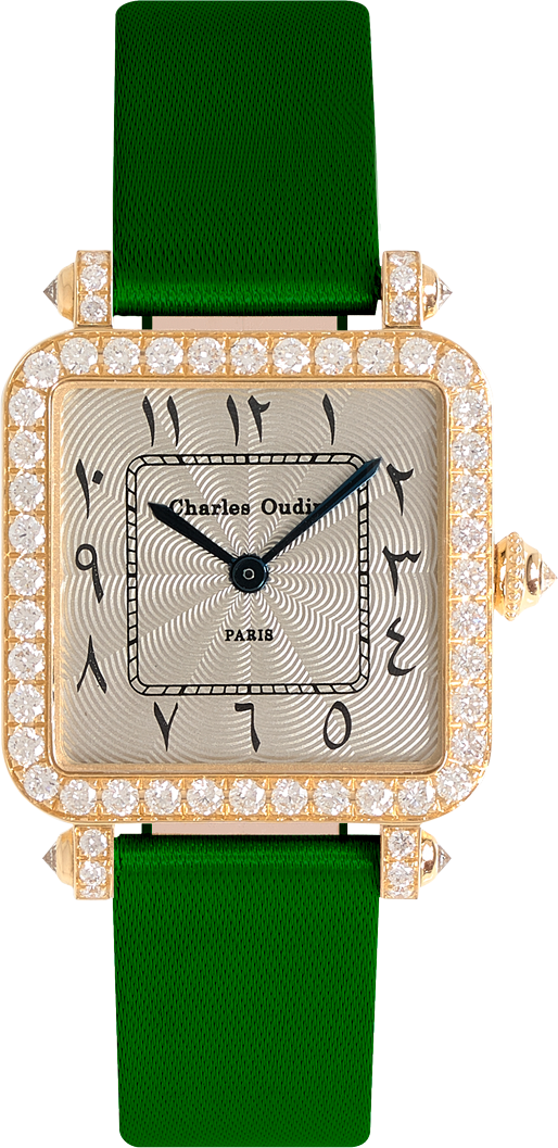 Pansy Retro watch in 18K yellow gold set with diamonds, 24mm guilloche dial, roman numeral, green satin strap by Charles Oudin Paris 8 place Vendome