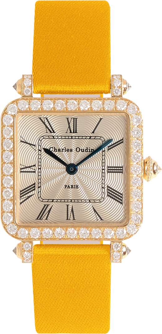 Pansy Retro watch in 18K yellow gold set with diamonds, guilloche dial, roman numeral, green satin strap by Charles Oudin Paris 8 place Vendome
