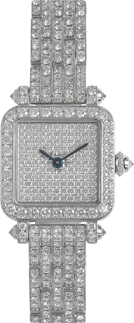 Full diamond Mini Pansy Retro watch in 18K white gold set with diamonds, 20mm diamond dial, diamond bracelet by Charles Oudin Paris 8 place Vendome perfect for a wedding or party