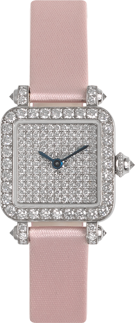 high-end jewelry watch for women Pansy Retro watch mini size in 18K white gold set with diamonds, diamond dial, pink satin strap by Charles Oudin Paris 8 place Vendôme