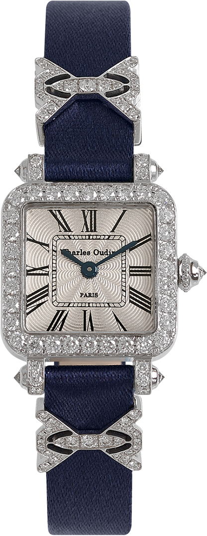 Mini Pansy Retro women luxury watch in 18K white gold set with diamonds, 20mm guilloche dial, navy satin strap and jewellery elements by Charles Oudin Paris 8 place Vendome