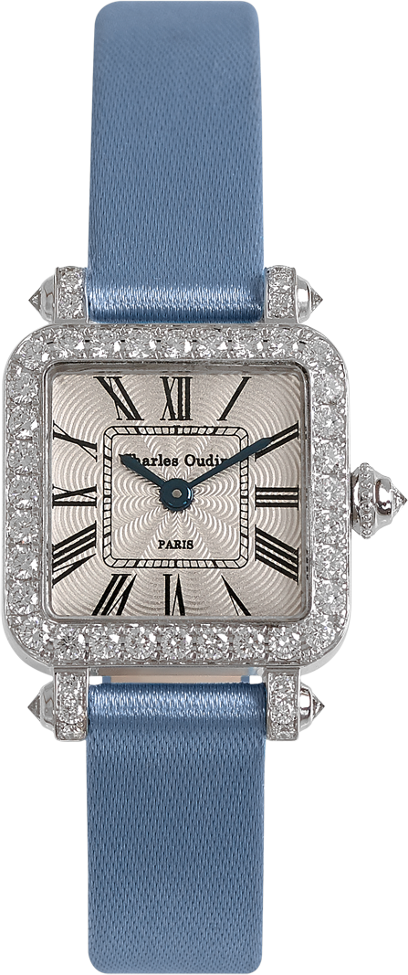 Mini Pansy Retro watch in 18K white gold set with diamonds, 20mm guilloche dial, dusty satin strap by Charles Oudin Paris 8 place Vendome