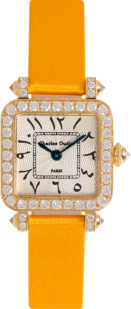 Mini Pansy Retro watch in 18K yellow gold set with diamonds, 20mm guilloche dial, Arabic style dial with hindu numeral, yellow satin strap by Charles Oudin Paris 8 place Vendome