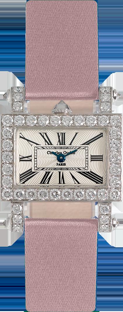 Charles Oudin Lily-Horizon Retro Mini size 18K white gold rectangular women luxury watch set with diamonds, pink satin strap