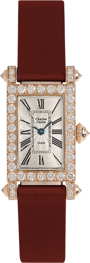 Charles Oudin Lily Retro Mini size 18K rose gold rectangular wacth set with sparkling diamonds, maroon Satin strap