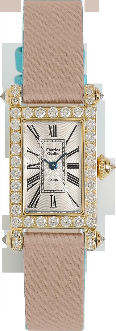 Charles Oudin Lily Retro Mini size 18K yellow gold rectangular watch set with sparkling diamonds, beige Satin strap