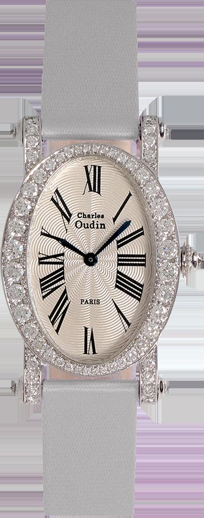 18K white gold Diamond set luxury wristwatch of oval shape Roman numerals Silver satin strap signed Charles Oudin Paris