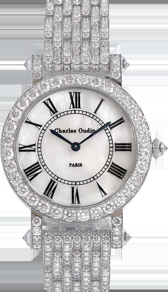 Charles Oudin Full Diamond round ASTER Retro woman luxury watch 18K white gold round watch set with diamonds, mother of pearl dial, diamond bracelet