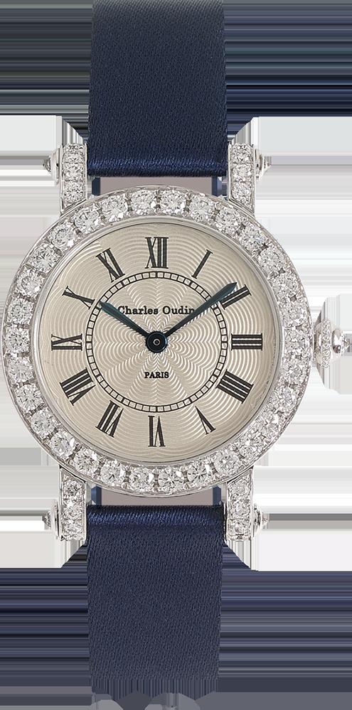 Charles Oudin ASTER Retro 18K white gold round watch set with diamonds, navy satin strap