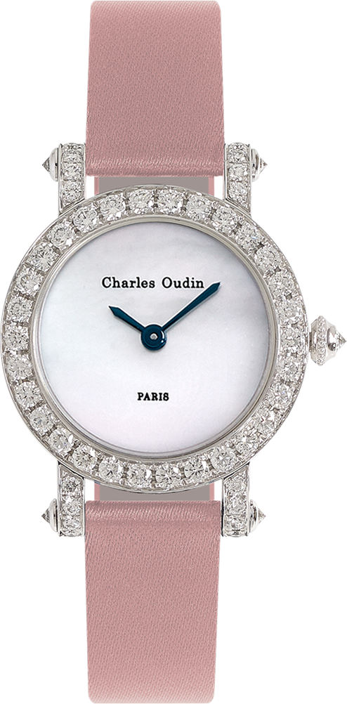 Charles Oudin mini Diamond round ASTER Retro woman luxury watch 18K white gold round watch set with diamonds, mother of pearl dial, pink satin strap