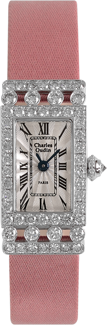Charles Oudin luxury Lily-Rose Retro watch 18K white gold rectangular watch set with sparkling diamonds, baby pink Satin strap