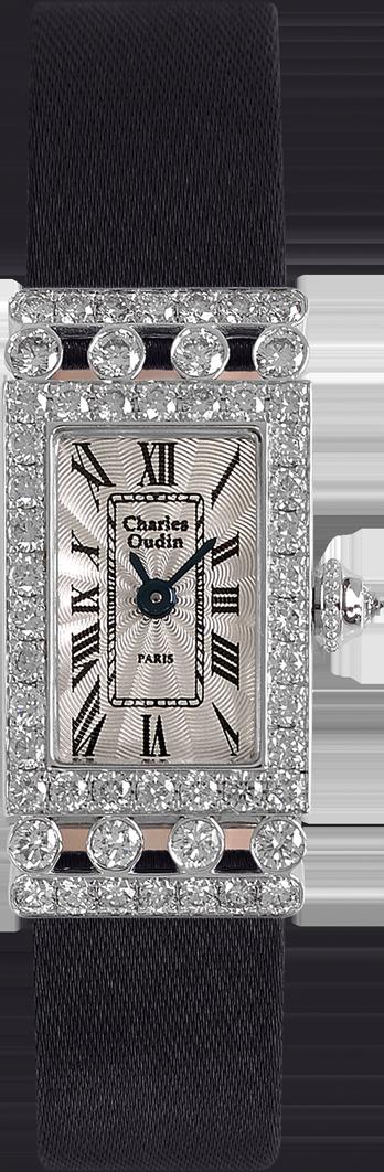 Charles Oudin Lily-Rose Retro Mini size 18K white gold rectangular watch set with sparkling diamonds, Black Satin strap