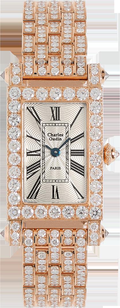 Charles Oudin Full diamond Lily Retro gold large size 18K rose gold rectangular and diamond