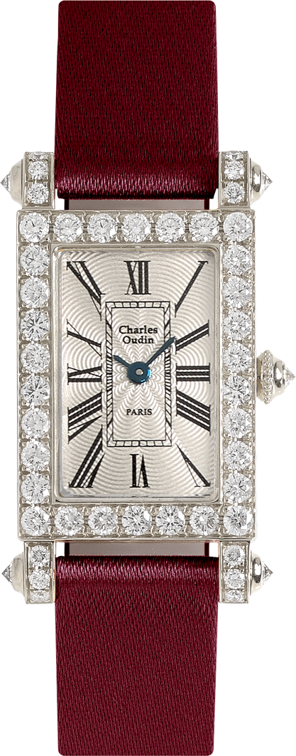 Charles Oudin Lily Retro Large size 18K yellow gold rectangular watch set with sparkling diamonds, beige Satin strap