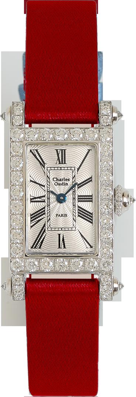 Charles Oudin Lily Retro Mini size 18K white gold rectangular women luxury watch set with sparkling diamonds, red satin strap