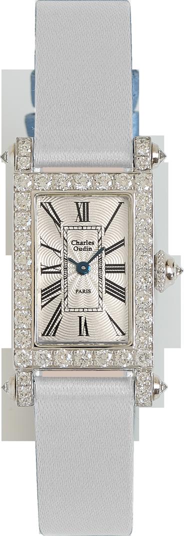 Charles Oudin Lily Retro Mini size 18K white gold rectangular set with sparkling diamonds, white Satin strap