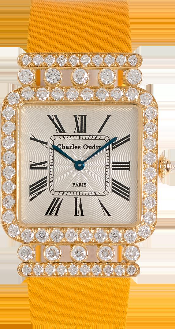 Charles Oudin Large Rose Retro watch 18K yellow gold diamonds, Yellow Satin strap