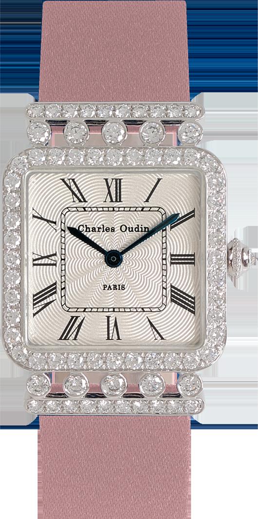 Charles Oudin Rose Retro Luxury jewellery watch 18K white gold diamonds, Dusty pink Satin strap