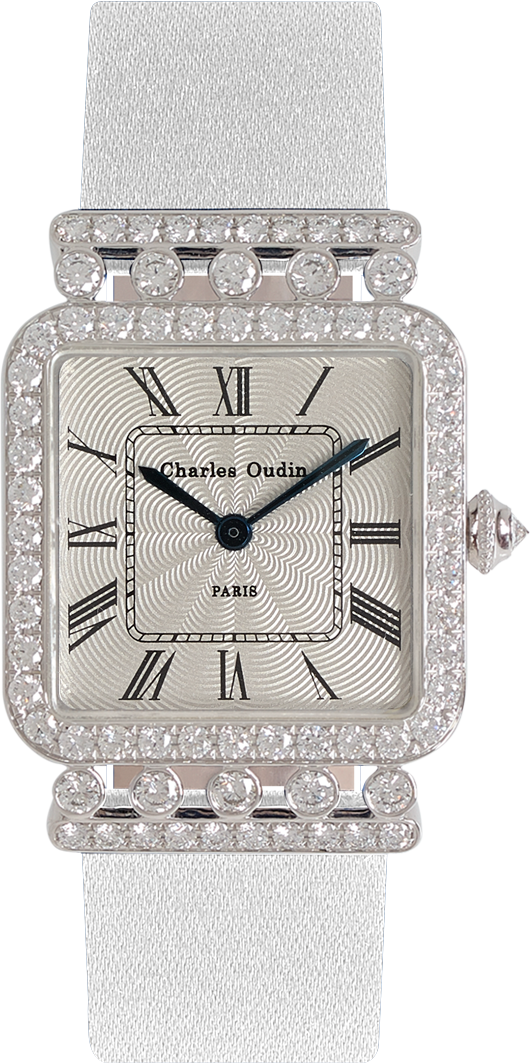 Charles Oudin luxury Rose Retro jewellery watch 18K white gold diamonds, white Satin strap