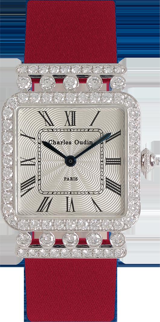 Charles Oudin Rose Retro watch 18K rose gold diamonds, Red Satin strap