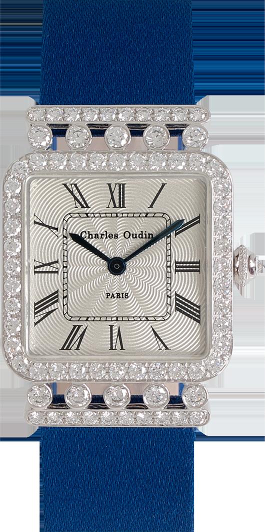 Charles Oudin Rose Retro 18K white gold diamond watch, Royal Satin strap