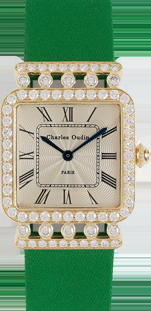 Charles Oudin Rose Retro 18K yellow gold diamond watch, Emerald Satin strap