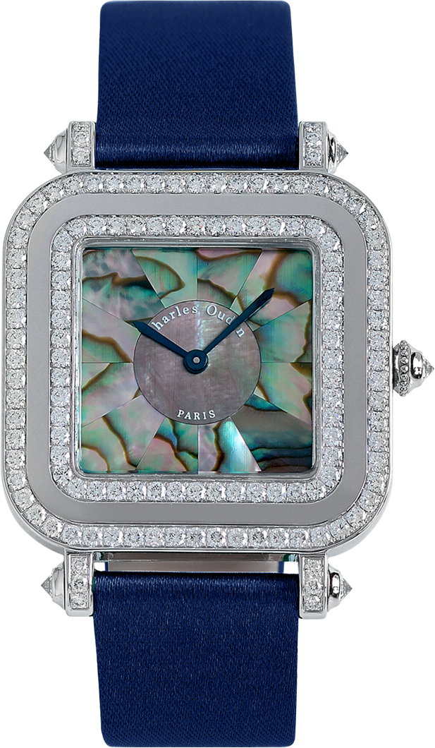 30mm Pansy Miroir watch in 18K white gold set with diamonds, mother of pearl marquetry dial, blue satin strap by Charles Oudin Paris 8 place Vendome