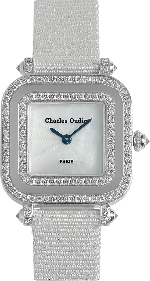 Chic and timeless, PANSY Miroir diamond watch white grosgrain glitter strap by Charles Oudin Paris 8 place Vendôme Parisian watchmaker since 1797