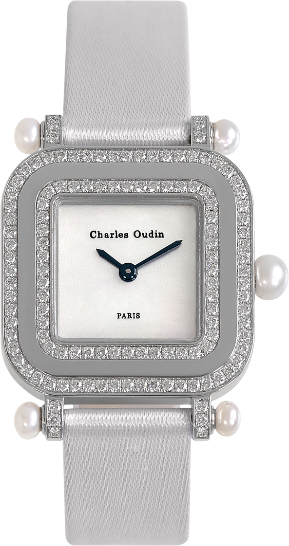 Chic and timeless, PANSY Miroir diamond and pearls watch, mother-of-pearl dial, white grosgrain glitter strap by Charles Oudin Paris 8 place Vendôme Parisian watchmaker since 1797