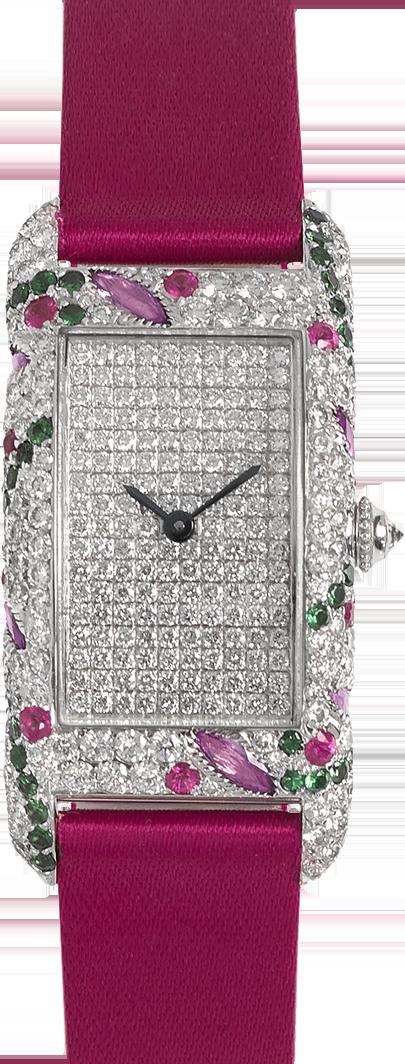 18K white gold rectangular shape watch set with precious stones diamonds, tsavorites, pink sapphires & rubis, diamond dial fuschia satin strap signed Charles Oudin Paris