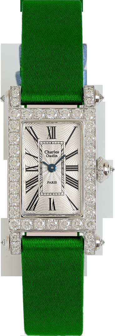 Charles Oudin Lily Retro Mini size 18K white gold rectangular women luxury watch set with sparkling diamonds, green satin strap