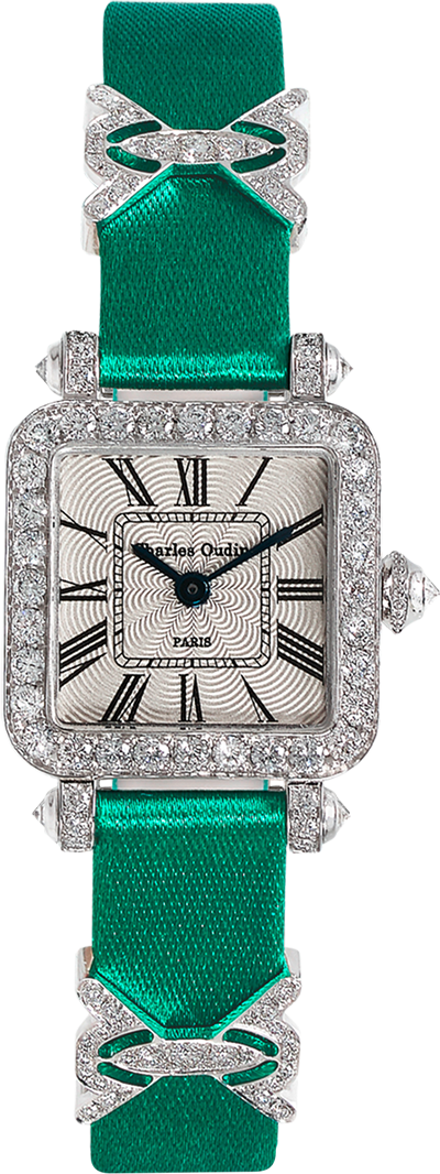 Mini Pansy Retro women luxury watch in 18K white gold set with diamonds, 20mm guilloche dial, green satin strap and jewellery elements by Charles Oudin Paris 8 place Vendome